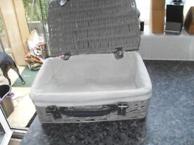 LINED PICNIC BASKET NICE CONDITION ONLY £10 !