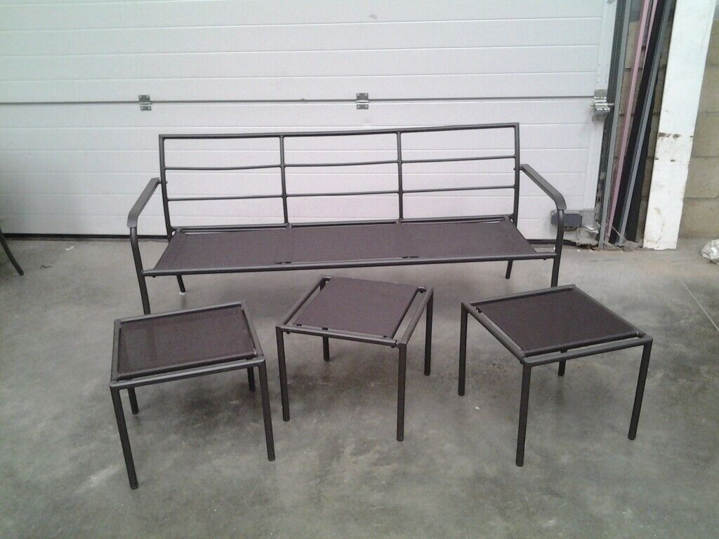 Astounding Unused Bargain Black Metal Garden Patio Bench Seat And 3 Stools Can Deliver In Norwich Norfolk Gumtree Machost Co Dining Chair Design Ideas Machostcouk