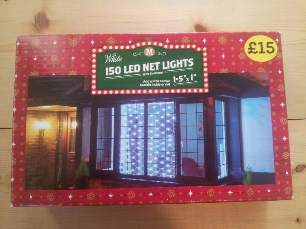 Festive Sparkle Christmas Lights LED Net, 150 lights, white