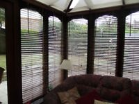 WOODEN VENETIAN CONSERVATORY BLIND - 63 INCHES DROP X 22 INCHES WIDE
