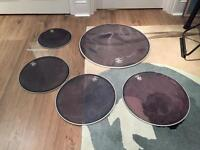 Mesh drum heads and silent cymbal