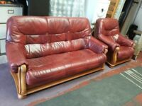 antique red leather and light oak wooden frame 3 seater sofa and 1 armchair suite