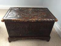 Antique vintage dark wood chest box trunk
