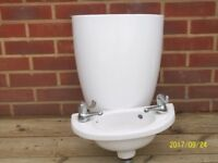 Ideal Standard Compact Cloakroom basin and semi pedestal with taps