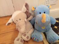 Plush rhino and elephant