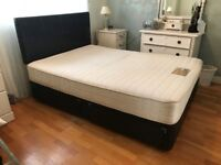 Brown leather 4 drawer double divan bed
