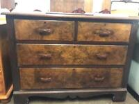 Solid wood walnut 2 over 2 chest of drawers