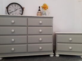 Bedroom Chest of Drawers and Bedside Cabinet