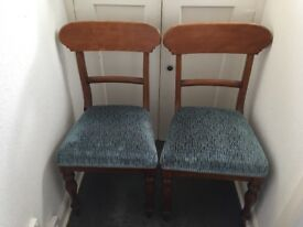 Pair of restored and reupholstered antique dining chairs