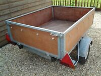small galvanised german made trailer 4ft 6 by 3ft 6 ideal camping trailer