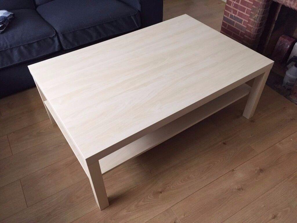 Ikea large birch effect coffee table.