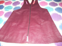 Ladies burgundy faux leather pinafore dress