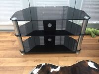 Black Glass TV Cabinet - 80cm