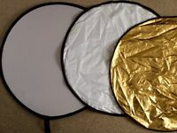 """Circular Silver Gold White Translucent.Collapsible Light Reflector 75cm 30"""""""