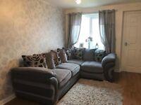 Grey/ black corner sofa unit