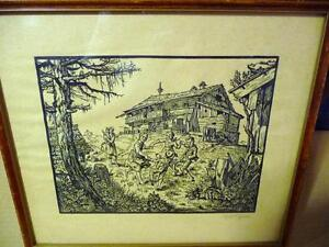 "Ernst Shrom ""Children Dancing"" 1944 Original Woodcut/Signed"