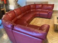 Natuzzi Red Leather 6/8 seater sofa
