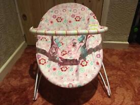 Baby bouncer relaxer chair with toys pink