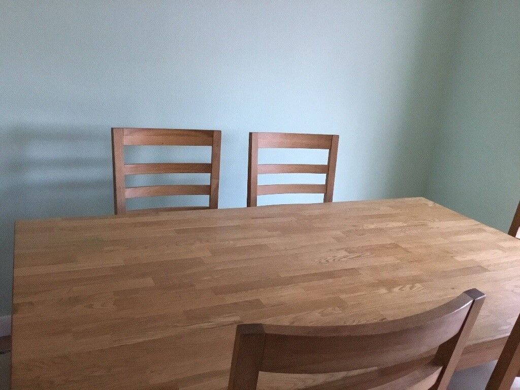 13c0ba266aa1 Solid light oak dining table  6 ladder back chairs. Table 5 3 long 3  wide