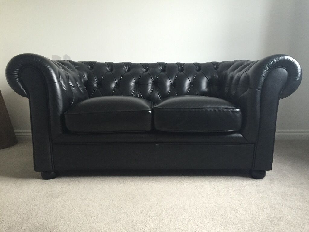 Black Leather 2 Seater Chesterfield Sofa - £200 Ono