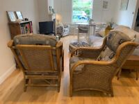 Stylish Pair of bamboo, cane & wicker armchairs