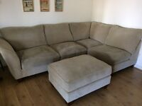 L Shaped corner sofa with footstool