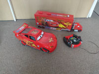 Disneys cars large mac truck and LIGHTNING MCQUEEN REMOTE CONTROL CAR