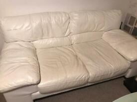 2 x Italian leather white sofas