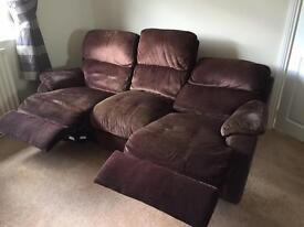 Fabric brown recliner sofa and storage footrest