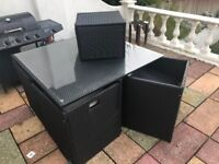 Cube Garden furniture 4 chairs, 1 glass top table, 1 small side table