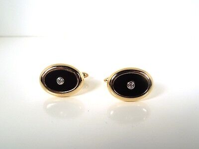 Onyx Diamond 14K Yellow Gold Oval Cufflinks – GAL Appraisal – Gift Box