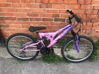 """Girls 24"""" Wheel Full Suspension Mountain Bike. Serviced, Free Lock, Lights, Delivery"""