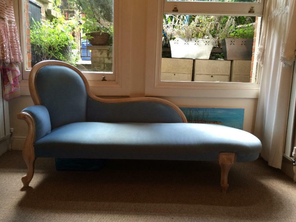 Hampstead sofa chaise lounge fainting couch lovely light for Blue leather chaise lounge