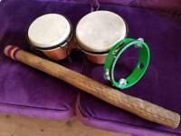 Bongos, Rain Stick and Tambourine