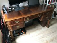 Period style DESK, brass handles and detailing
