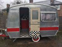 Vintage retro 50's style caravan aluminium