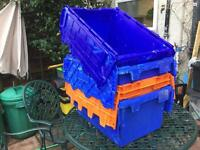 Mixed heavy duty plastic crates, removal containers - £10.00 each
