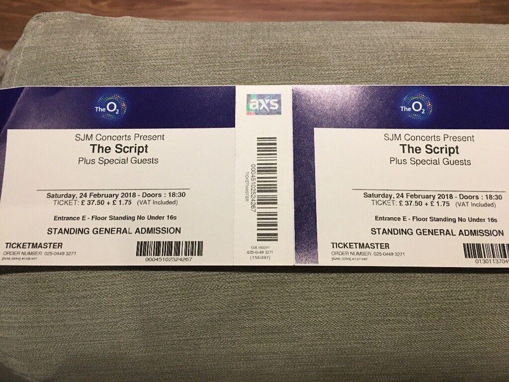 2 x tickets for THE SCRIPT @ 02 Saturday 24th Feb