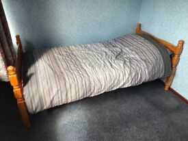 Wooden single bed frame, mattress and bedding - free