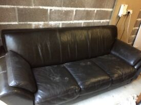 two leather sofas , a few scratches but very comfy