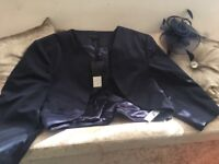 Navy jacket and fascinater perfect for wedding guest or races size 20