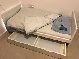 Mamas and Papas white Yale cot bed and underbed storage drawer