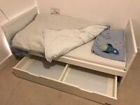 Mamas and Papas white Yale Cot Bed and under-bed storage drawer, Little Green Sheep organic mattress