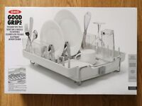 NEW! OXO Good Grips Foldaway Dish Rack - Large Capacity - ideal for Small Space Kitchens Crockery
