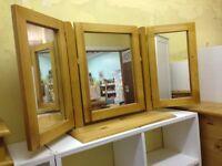 Triple Mirror - pine, antique finish