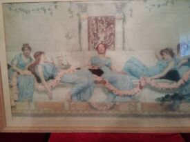 Reduced Price!- Beautiful Vintage Print Featuring Maidens