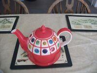 Whittard of Chelsea Handpainted Orange Large Teapot