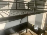 Single Metal High sleeper bed with desk