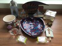 Bundle - fish & nautical stuff, bronze frog hider, crackle candle holder in box, mosaic dish & more
