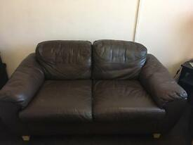 2 & 3 seater brown leather sofa